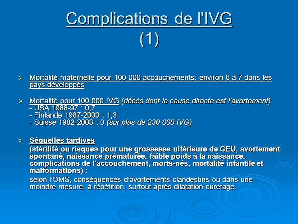 Complications de l'IVG (1) Mortalité maternelle pour 100 000 accouchements: environ 6 à 7 dans les pays développés Mortalité maternelle pour 100 000 a