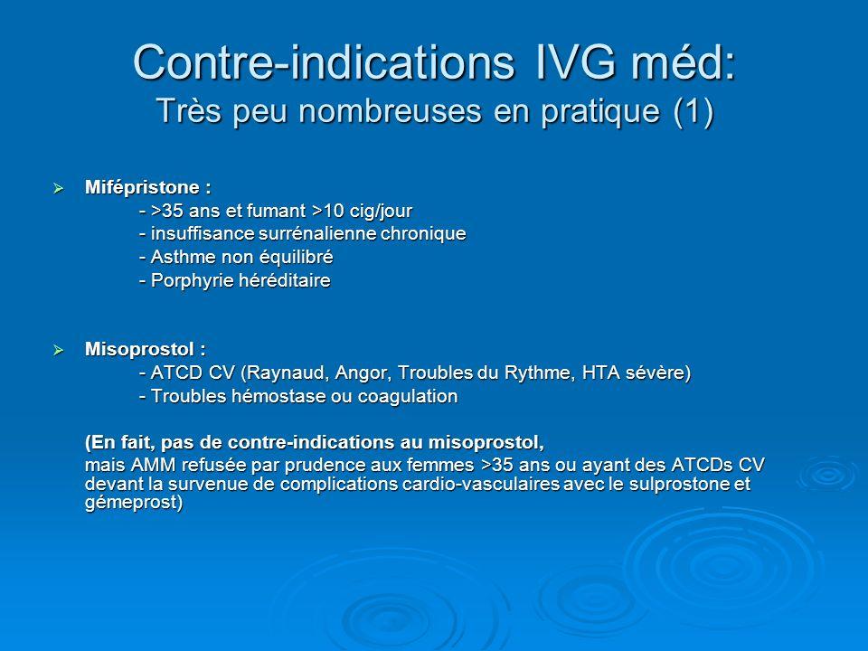 Contre-indications IVG méd: Très peu nombreuses en pratique (1) Mifépristone : Mifépristone : - >35 ans et fumant >10 cig/jour - insuffisance surrénal