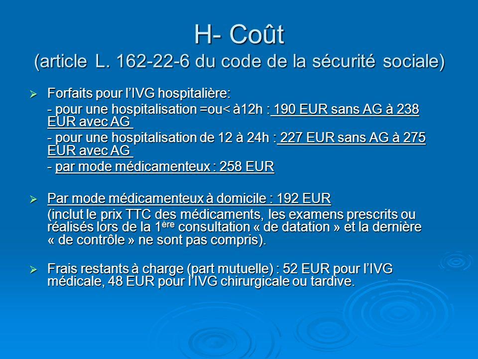 H- Coût (article L. 162-22-6 du code de la sécurité sociale) Forfaits pour lIVG hospitalière: Forfaits pour lIVG hospitalière: - pour une hospitalisat