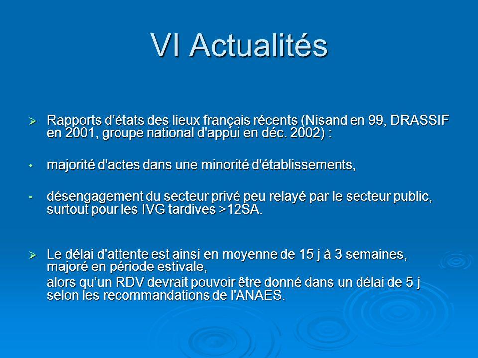 VI Actualités Rapports détats des lieux français récents (Nisand en 99, DRASSIF en 2001, groupe national d'appui en déc. 2002) : Rapports détats des l