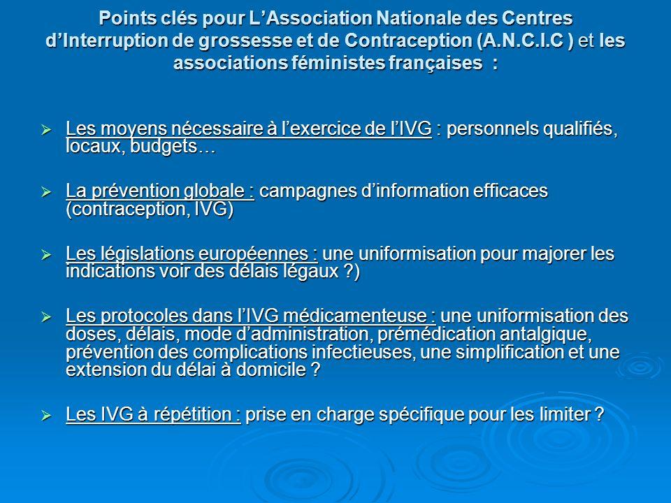 Points clés pour LAssociation Nationale des Centres dInterruption de grossesse et de Contraception (A.N.C.I.C ) et les associations féministes françai