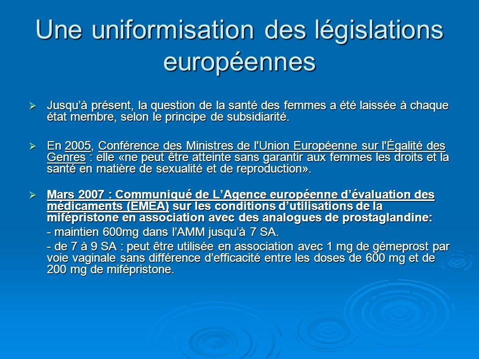 Une uniformisation des législations européennes Jusquà présent, la question de la santé des femmes a été laissée à chaque état membre, selon le princi