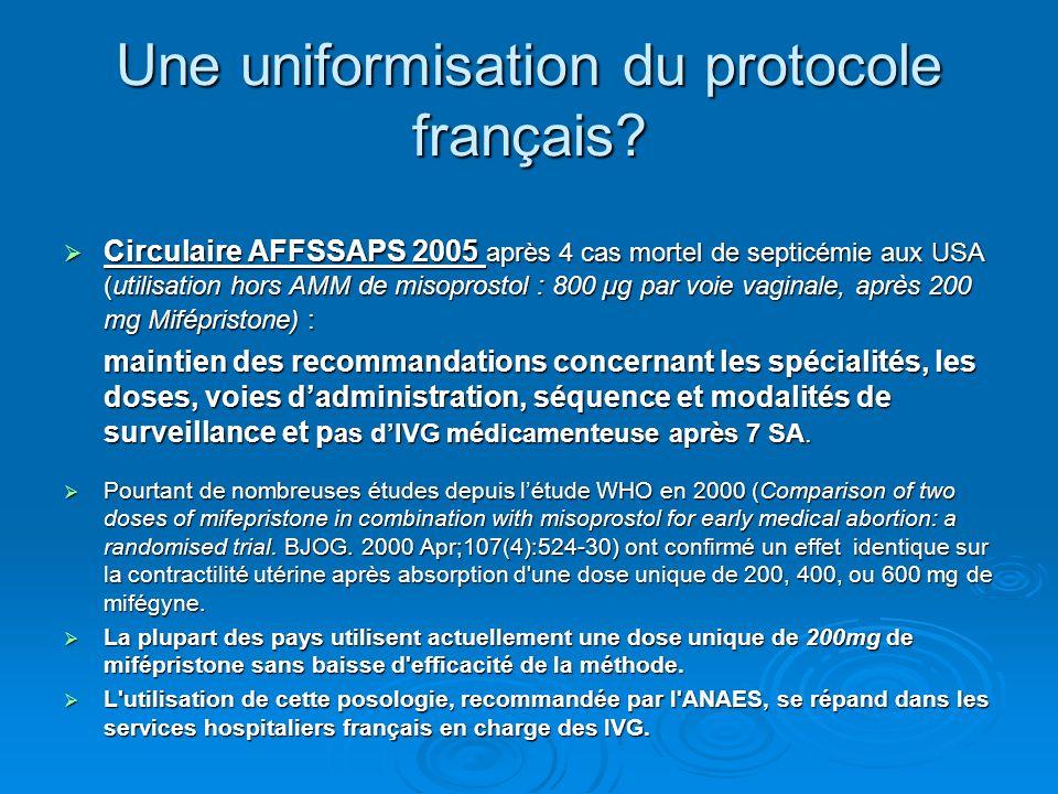 Une uniformisation du protocole français? Circulaire AFFSSAPS 2005 après 4 cas mortel de septicémie aux USA (utilisation hors AMM de misoprostol : 800
