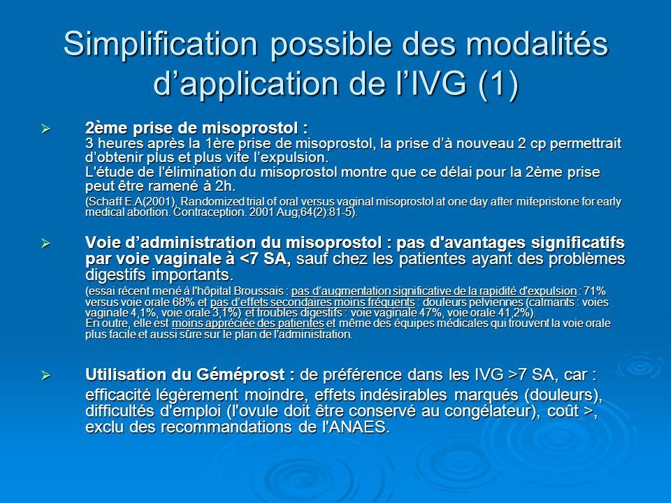 Simplification possible des modalités dapplication de lIVG (1) 2ème prise de misoprostol : 3 heures après la 1ère prise de misoprostol, la prise dà no