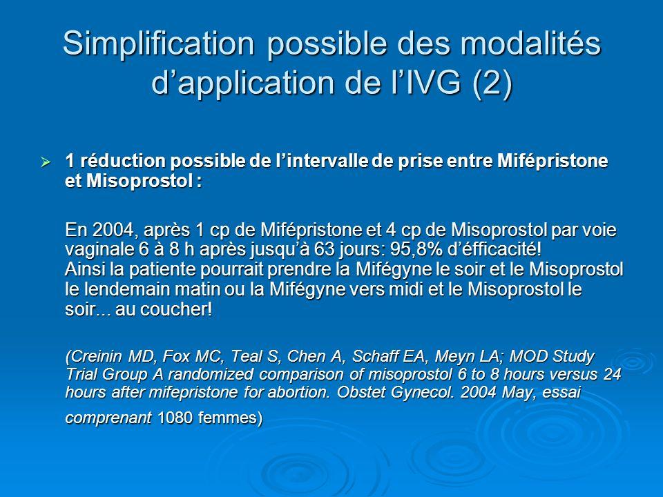 Simplification possible des modalités dapplication de lIVG (2) 1 réduction possible de lintervalle de prise entre Mifépristone et Misoprostol : 1 rédu