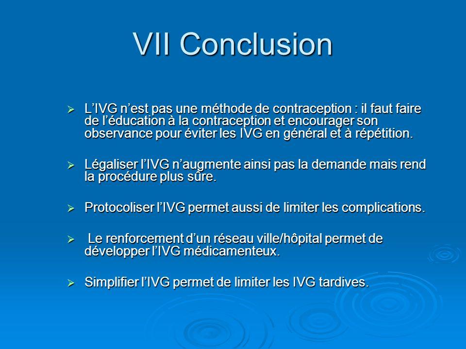 VII Conclusion LIVG nest pas une méthode de contraception : il faut faire de léducation à la contraception et encourager son observance pour éviter le