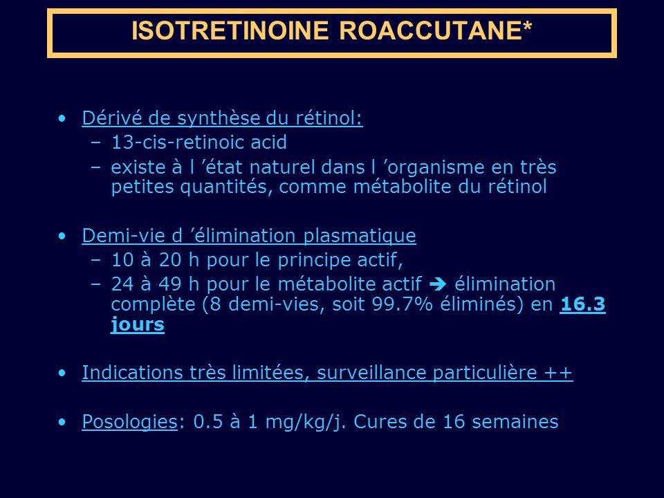 Dérivé de synthèse du rétinol: –13-cis-retinoic acid –existe à l état naturel dans l organisme en très petites quantités, comme métabolite du rétinol