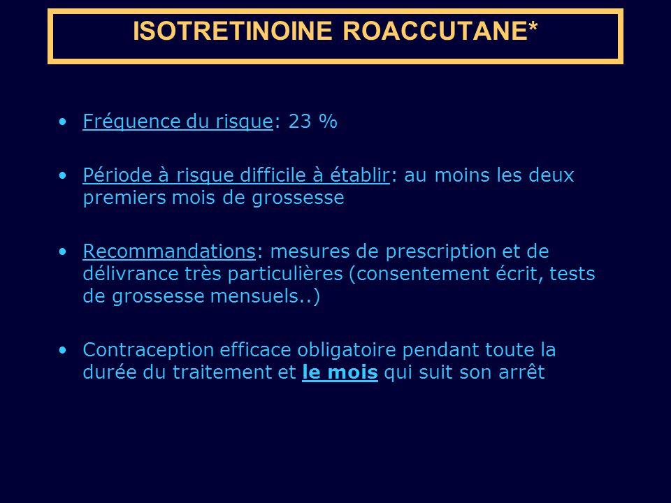 Fréquence du risque: 23 % Période à risque difficile à établir: au moins les deux premiers mois de grossesse Recommandations: mesures de prescription