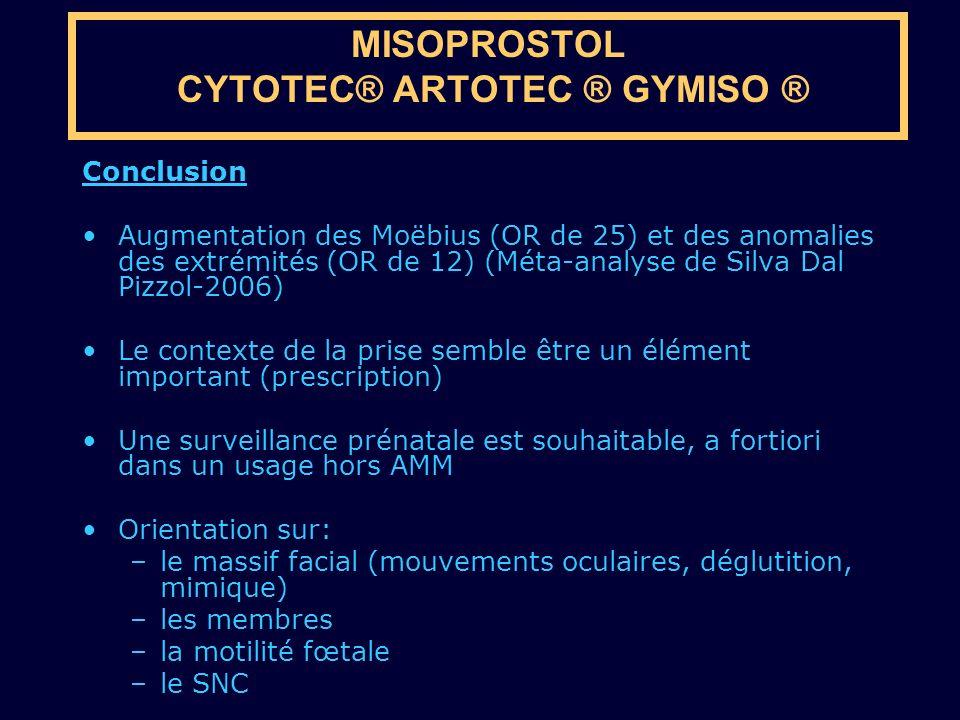 Conclusion Augmentation des Moëbius (OR de 25) et des anomalies des extrémités (OR de 12) (Méta-analyse de Silva Dal Pizzol-2006) Le contexte de la pr