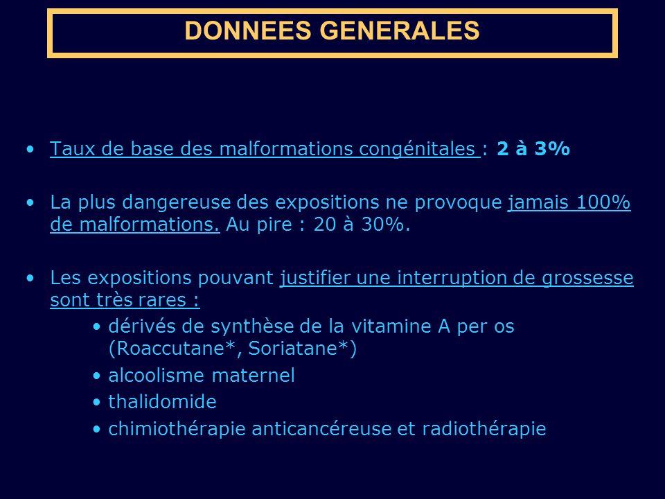 DONNEES GENERALES Taux de base des malformations congénitales : 2 à 3% La plus dangereuse des expositions ne provoque jamais 100% de malformations. Au