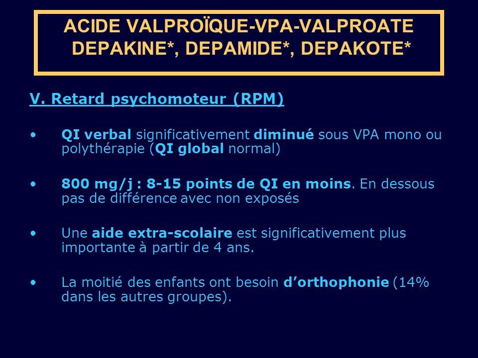 V. Retard psychomoteur (RPM) QI verbal significativement diminué sous VPA mono ou polythérapie (QI global normal) 800 mg/j : 8-15 points de QI en moin
