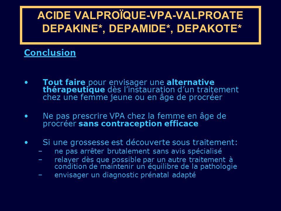Conclusion Tout faire pour envisager une alternative thérapeutique dès linstauration dun traitement chez une femme jeune ou en âge de procréer Ne pas