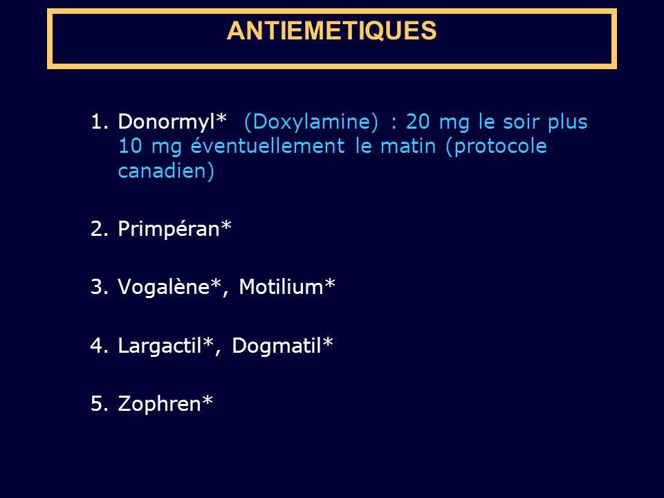 1.Donormyl* (Doxylamine) : 20 mg le soir plus 10 mg éventuellement le matin (protocole canadien) 2.Primpéran* 3.Vogalène*, Motilium* 4.Largactil*, Dog