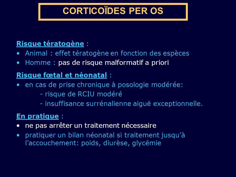 CORTICOÏDES PER OS Risque tératogène : Animal : effet tératogène en fonction des espèces Homme : pas de risque malformatif a priori Risque fœtal et né