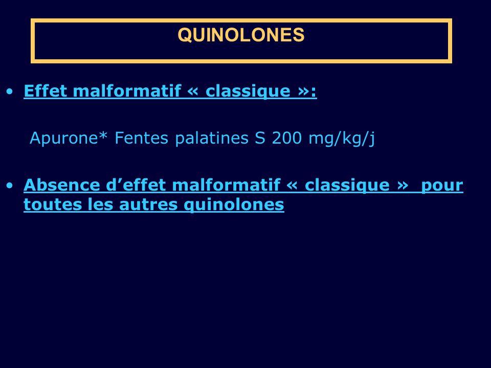 QUINOLONES Effet malformatif « classique »: Apurone* Fentes palatines S 200 mg/kg/j Absence deffet malformatif « classique » pour toutes les autres qu