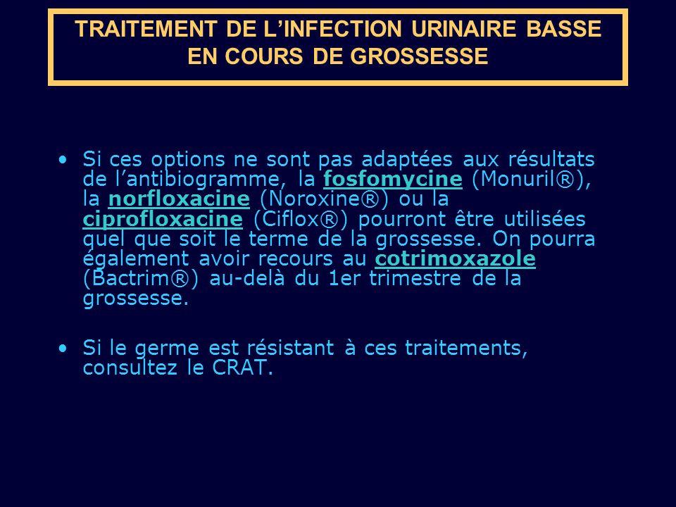 TRAITEMENT DE LINFECTION URINAIRE BASSE EN COURS DE GROSSESSE Si ces options ne sont pas adaptées aux résultats de lantibiogramme, la fosfomycine (Mon