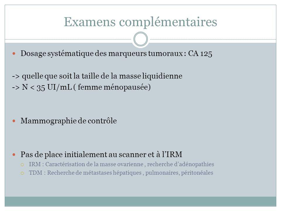 Examens complémentaires Dosage systématique des marqueurs tumoraux : CA 125 -> quelle que soit la taille de la masse liquidienne -> N < 35 UI/mL ( fem