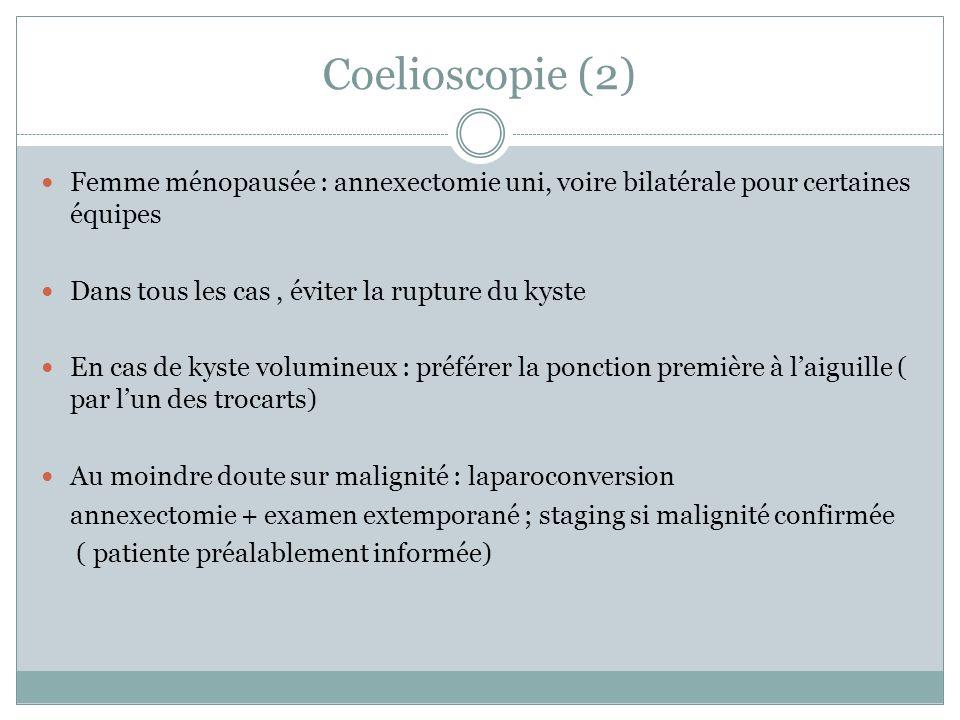 Coelioscopie (2) Femme ménopausée : annexectomie uni, voire bilatérale pour certaines équipes Dans tous les cas, éviter la rupture du kyste En cas de