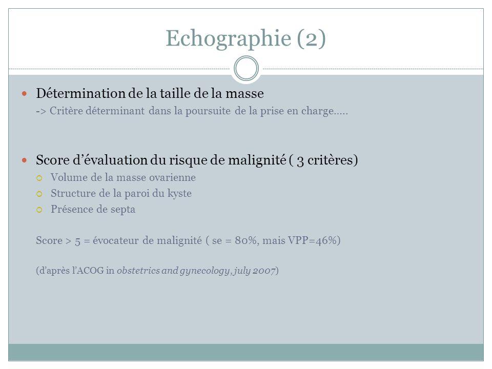 Echographie (2) Détermination de la taille de la masse -> Critère déterminant dans la poursuite de la prise en charge….. Score dévaluation du risque d
