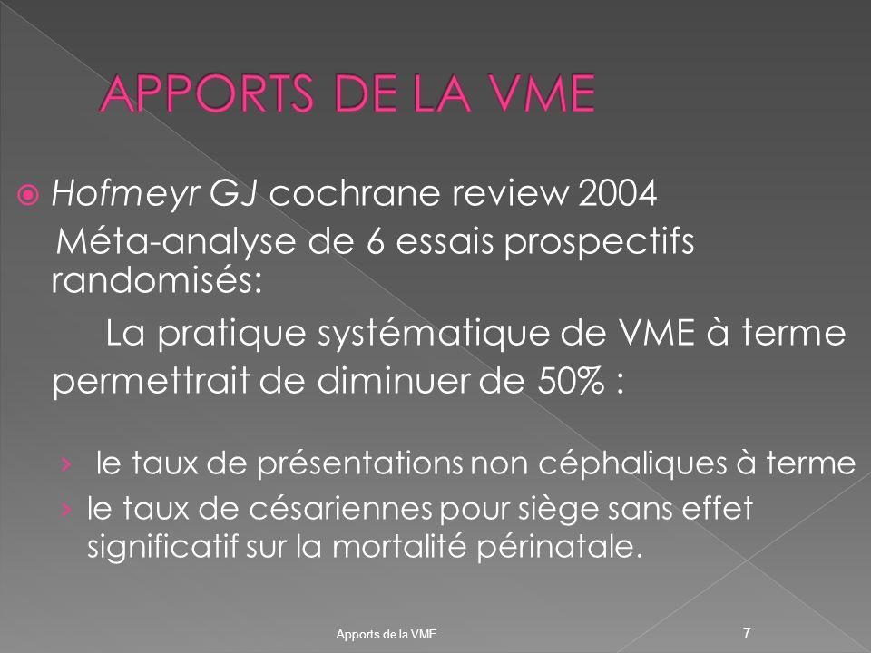 REDUCTION DU TAUX DE PRESENTATIONS PELVIENNE A LENTREE EN TRAVAIL : étude rétrospective multicentrique : Berger J.Gynecol Obstet.Reprod 1991 - 262 sièges / 7562 accouchements - Comparaison de 2 groupes : VME + ( Poitiers et Beffroi ), VME – ( Angers / Bretonneau ) - Réduction de 12 sièges pour 1000 accouchements après 36 SA ( 33, 6%) - effet de la VME non significatif chez la primigeste ( nombre de sièges à lentrée en travail rapporté aux 3278 accouchements : VME + = 14,3% VME - = 15,2% Apports de la VME.