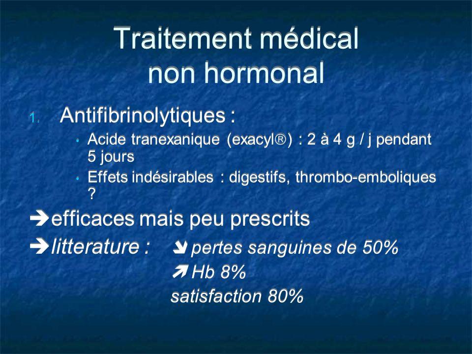 Traitement médical non hormonal 1. Antifibrinolytiques : Acide tranexanique (exacyl ) : 2 à 4 g / j pendant 5 jours Effets indésirables : digestifs, t
