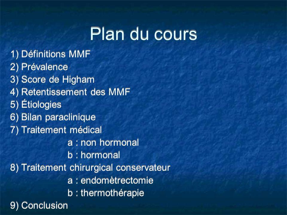 Plan du cours 1) Définitions MMF 2) Prévalence 3) Score de Higham 4) Retentissement des MMF 5) Étiologies 6) Bilan paraclinique 7) Traitement médical