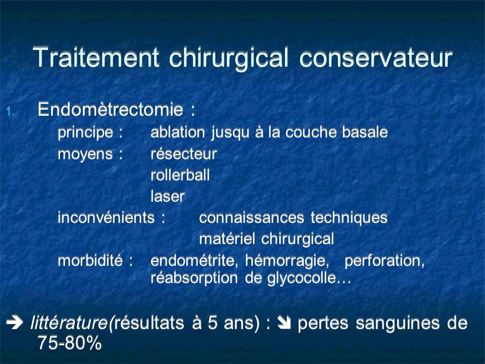 Traitement chirurgical conservateur 1. Endomètrectomie : principe : ablation jusqu à la couche basale moyens : résecteur rollerball laser inconvénient