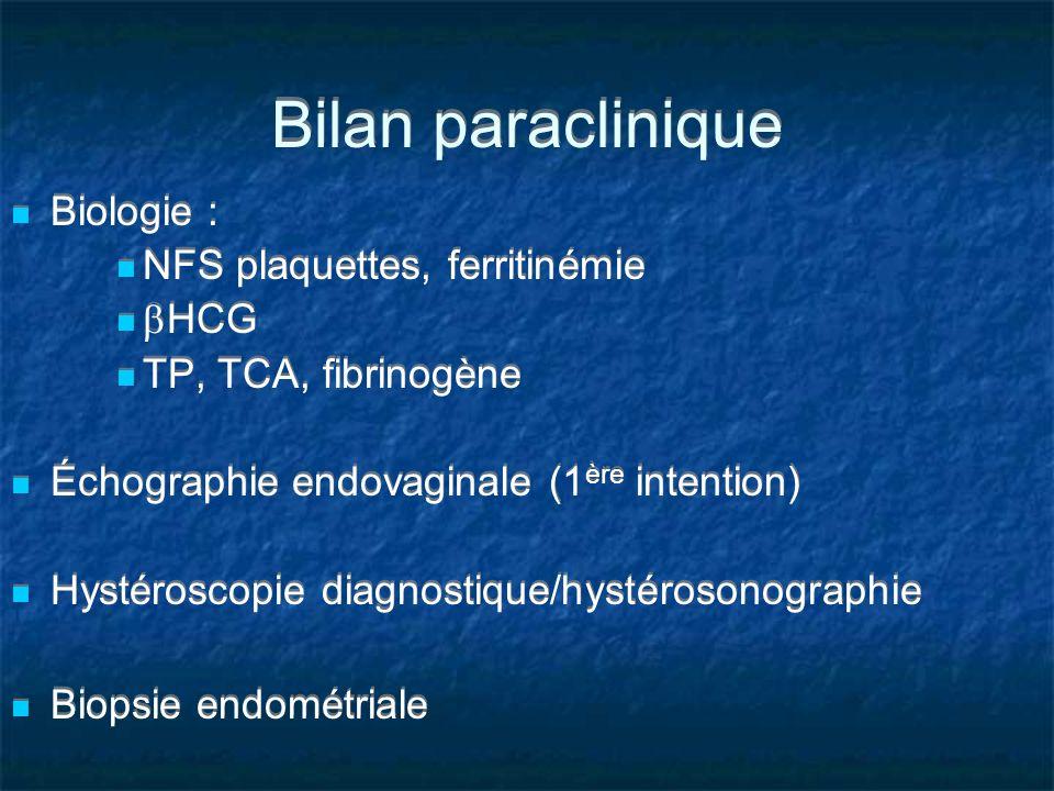 Bilan paraclinique Biologie : NFS plaquettes, ferritinémie HCG TP, TCA, fibrinogène Échographie endovaginale (1 ère intention) Hystéroscopie diagnosti