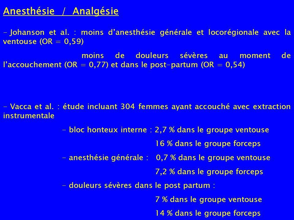 Anesthésie / Analgésie - Johanson et al. : moins danesthésie générale et locorégionale avec la ventouse (OR = 0,59) moins de douleurs sévères au momen