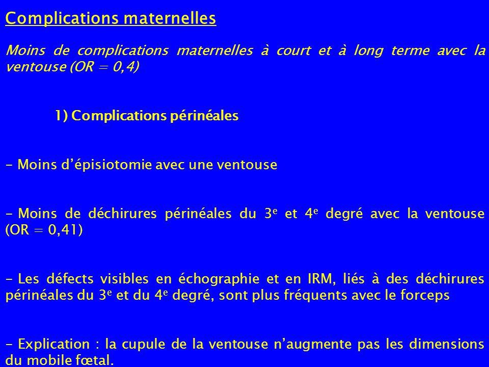 Complications maternelles Moins de complications maternelles à court et à long terme avec la ventouse (OR = 0,4) 1) Complications périnéales - Moins d