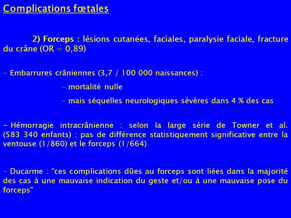 Complications fœtales 2) Forceps : lésions cutanées, faciales, paralysie faciale, fracture du crâne (OR = 0,89) - Embarrures crâniennes (3,7 / 100 000