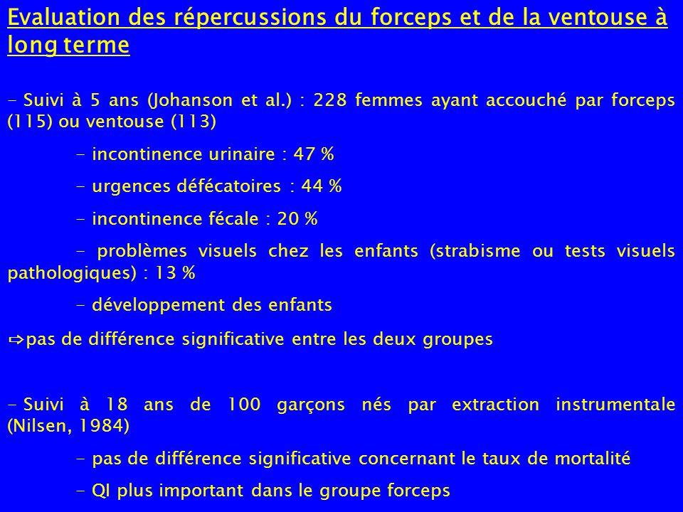 Evaluation des répercussions du forceps et de la ventouse à long terme - Suivi à 5 ans (Johanson et al.) : 228 femmes ayant accouché par forceps (115)