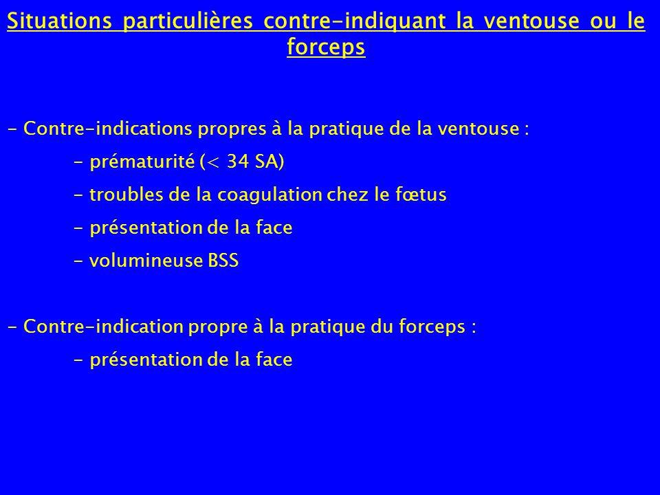 Situations particulières contre-indiquant la ventouse ou le forceps - Contre-indications propres à la pratique de la ventouse : - prématurité (< 34 SA
