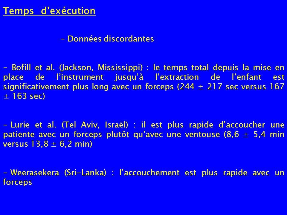 Temps dexécution - Données discordantes - Bofill et al. (Jackson, Mississippi) : le temps total depuis la mise en place de linstrument jusquà lextract