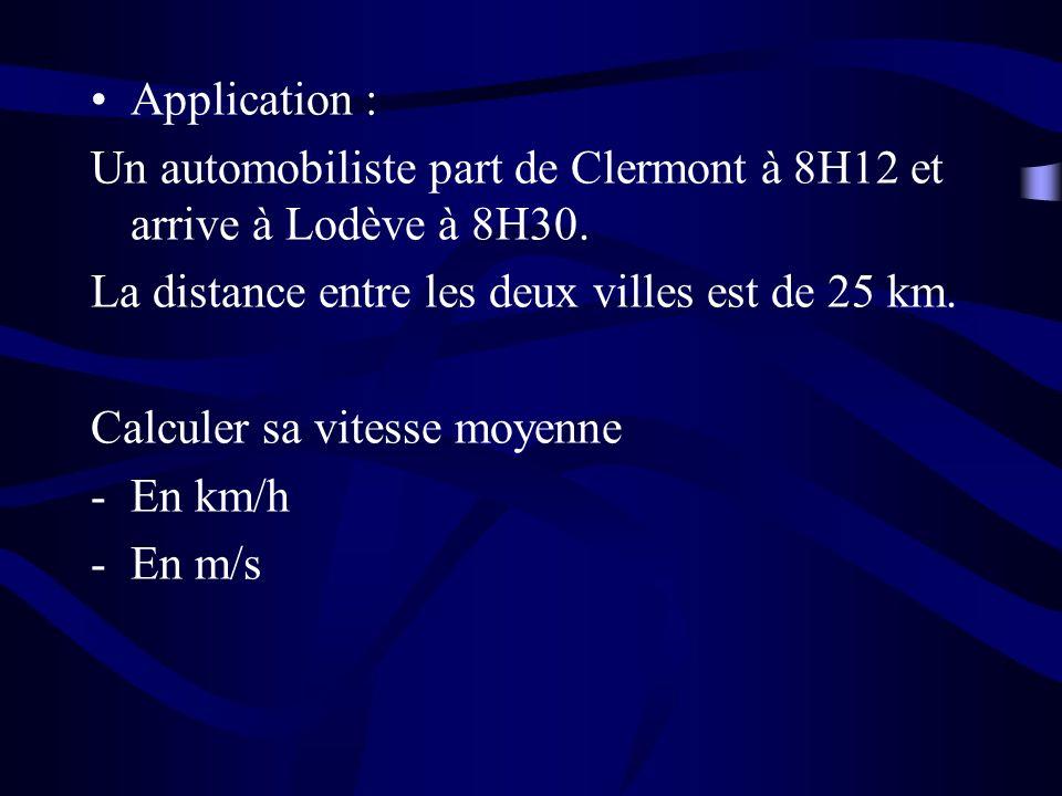 Application : Un automobiliste part de Clermont à 8H12 et arrive à Lodève à 8H30.