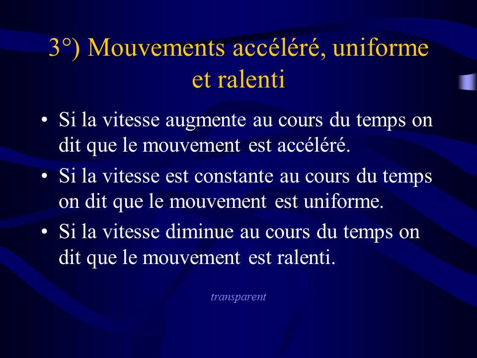 3°) Mouvements accéléré, uniforme et ralenti Si la vitesse augmente au cours du temps on dit que le mouvement est accéléré.