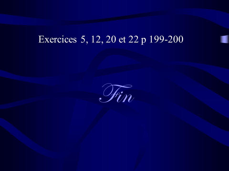 Fin Exercices 5, 12, 20 et 22 p 199-200