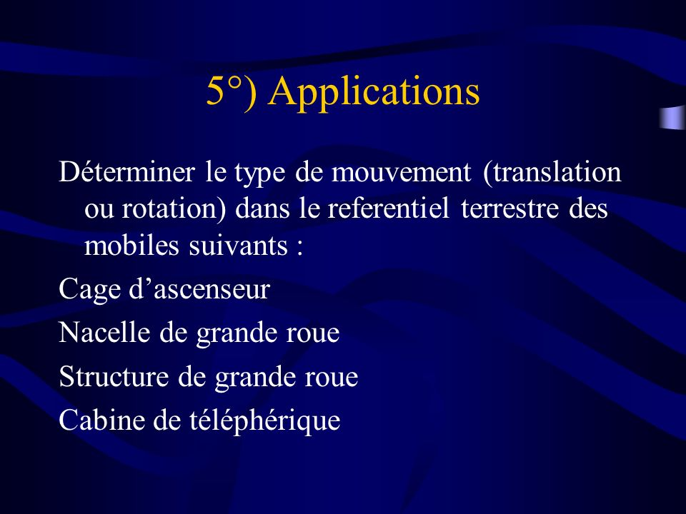 5°) Applications Déterminer le type de mouvement (translation ou rotation) dans le referentiel terrestre des mobiles suivants : Cage dascenseur Nacell