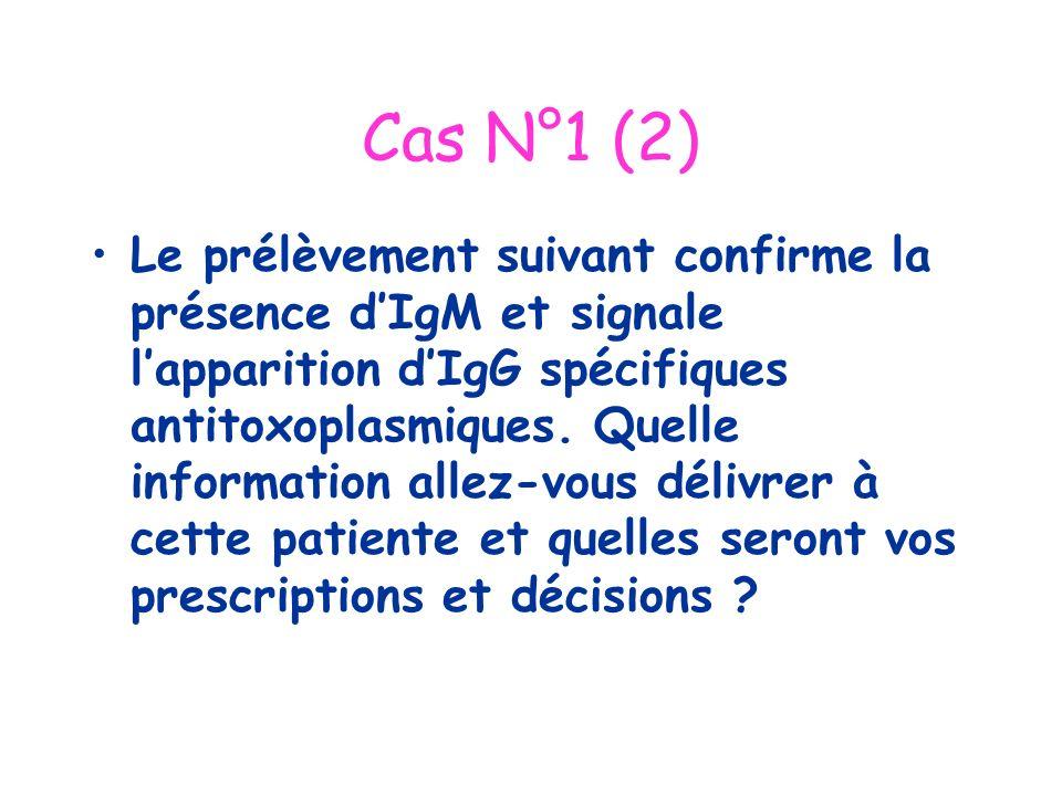 Cas N°1 (2) Le prélèvement suivant confirme la présence dIgM et signale lapparition dIgG spécifiques antitoxoplasmiques. Quelle information allez-vous