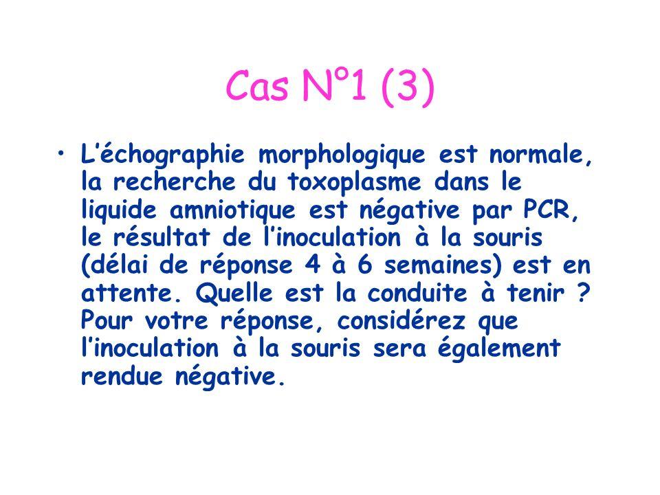 Cas N°1 (3) Léchographie morphologique est normale, la recherche du toxoplasme dans le liquide amniotique est négative par PCR, le résultat de linocul