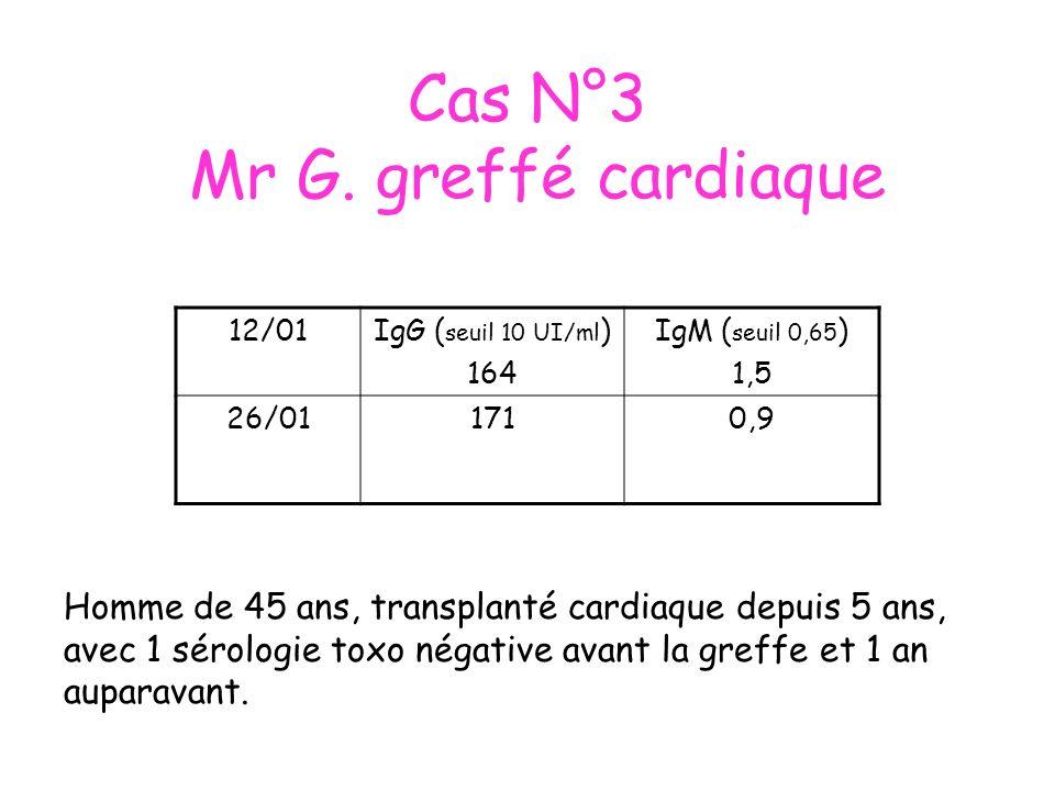 Cas N°3 Mr G. greffé cardiaque 12/01IgG ( seuil 10 UI/ml ) 164 IgM ( seuil 0,65 ) 1,5 26/011710,9 Homme de 45 ans, transplanté cardiaque depuis 5 ans,