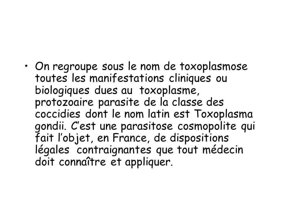 On regroupe sous le nom de toxoplasmose toutes les manifestations cliniques ou biologiques dues au toxoplasme, protozoaire parasite de la classe des c