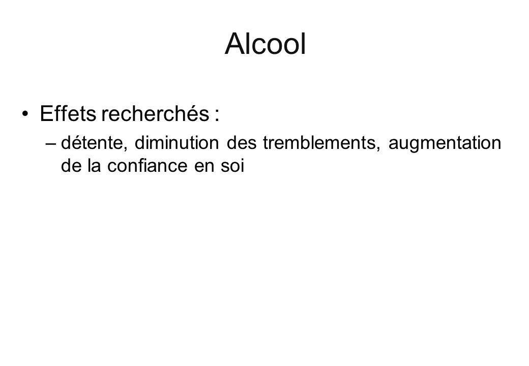 Alcool Effets recherchés : –détente, diminution des tremblements, augmentation de la confiance en soi