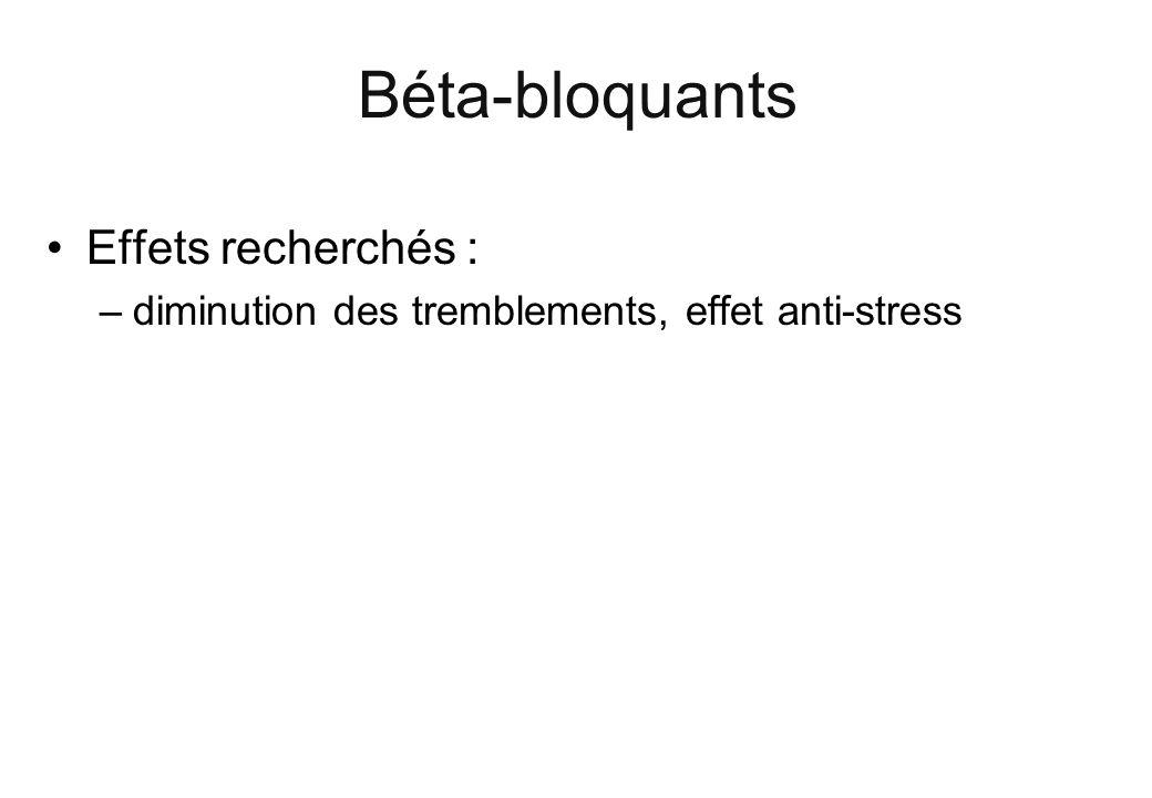 Béta-bloquants Effets recherchés : –diminution des tremblements, effet anti-stress