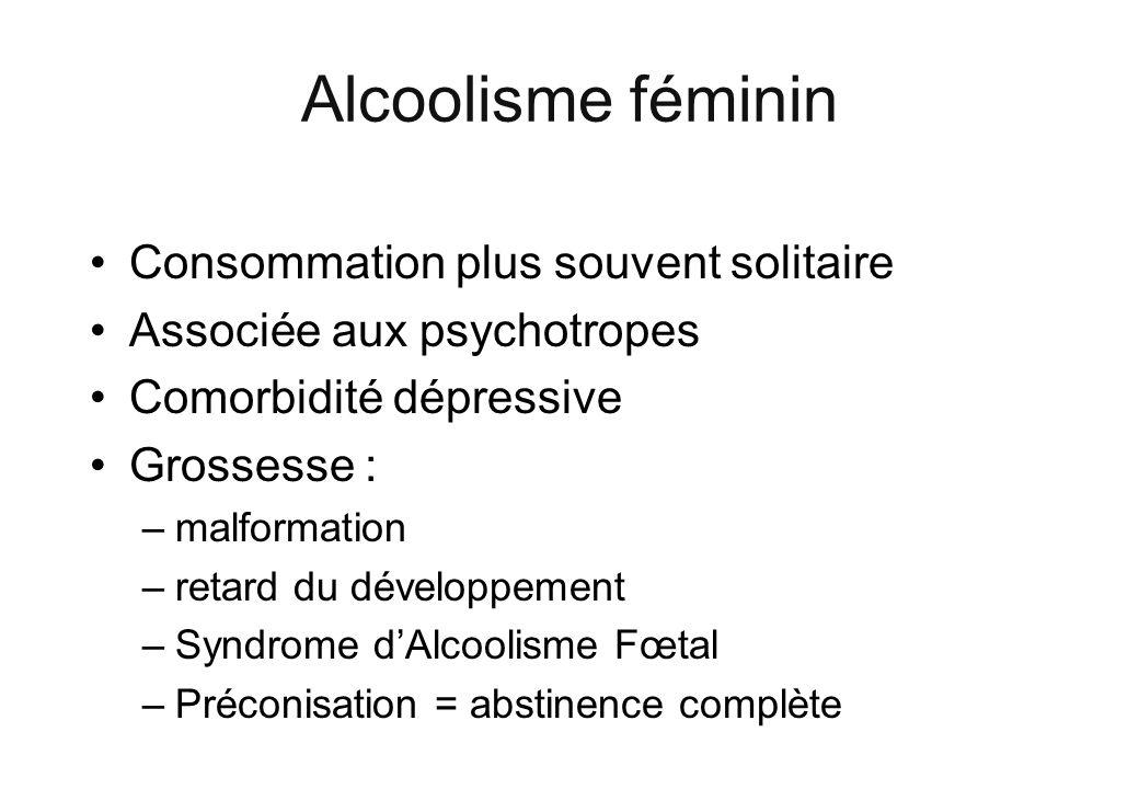 Alcoolisme féminin Consommation plus souvent solitaire Associée aux psychotropes Comorbidité dépressive Grossesse : –malformation –retard du développe