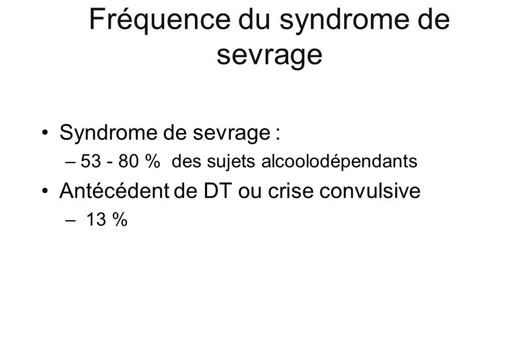 Fréquence du syndrome de sevrage Syndrome de sevrage : –53 - 80 % des sujets alcoolodépendants Antécédent de DT ou crise convulsive – 13 %