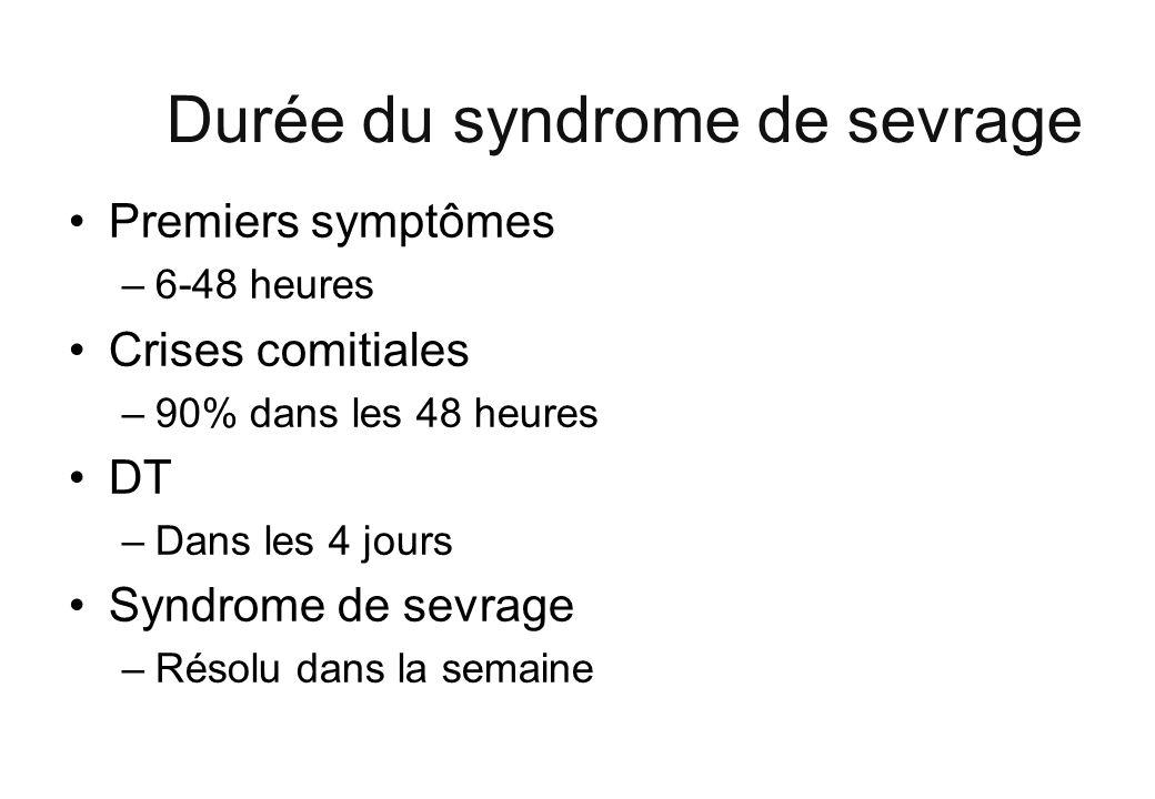 Durée du syndrome de sevrage Premiers symptômes –6-48 heures Crises comitiales –90% dans les 48 heures DT –Dans les 4 jours Syndrome de sevrage –Résol