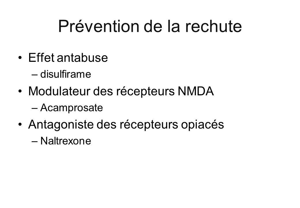 Effet antabuse –disulfirame Modulateur des récepteurs NMDA –Acamprosate Antagoniste des récepteurs opiacés –Naltrexone