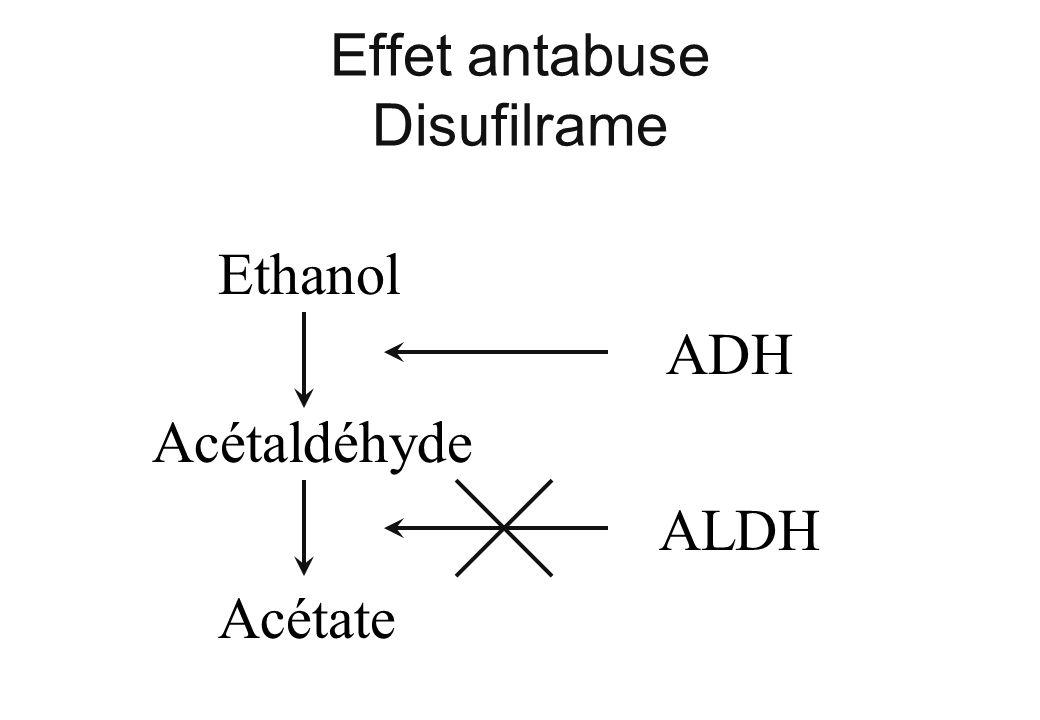 Effet antabuse Disufilrame Ethanol Acétaldéhyde Acétate ADH ALDH