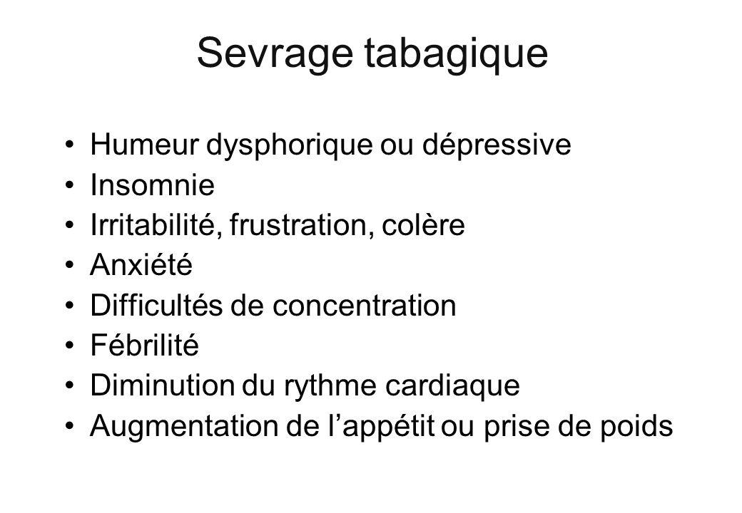 Sevrage tabagique Humeur dysphorique ou dépressive Insomnie Irritabilité, frustration, colère Anxiété Difficultés de concentration Fébrilité Diminutio